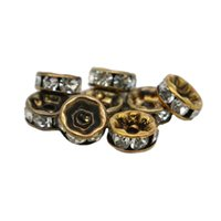 Wholesale Rondelle Beads Blue Wholesale - All Size Bronze Plated Crystal Rondelle Spacer Beads White Clear Rhinestone 100pcs per bag for Jewelery Making, IA01-03