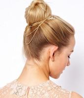 europäischer kamm großhandel-Haarschmuck europäischen und amerikanischen Blätter Blatt Kette Quaste Haar Kamm Haarschmuck