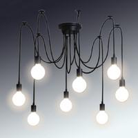 ampoule edison classique achat en gros de-Lustre classique rétro E27 araignée lampe pendentif groupe d'ampoules Edison bricolage lampes lanternes accessoires fil messager