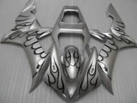 Wholesale Yamaha Silver Flamed Fairing - Fairing kit for Yamaha YZF R1 2002 2003 black flames silver fairings set YZF R1 02 03 OT05