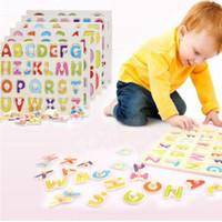 ahşap oyuncak alfabesi toptan satış-Bebek bilişsel ahşap alfabe bulmacalar oyuncaklar eğitici oyuncaklar sayılar İngilizce hayvan bilmecenin el kavramak plaka