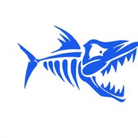 Wholesale Motorcycle Wall Stickers - Wholesale 10pcs lot Ocean Animals Fish Bones Car Stickers for Motorhome Wall RV Minicab Motorcycles Laptop Car Decor Waterproof Vinyl Decal