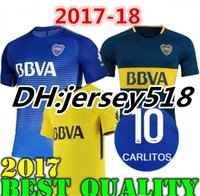 Wholesale Boca Juniors Shorts - 17 18 Boca Juniors Soccer Jerseys Thai quality 2017 2018 GAGO OSVALDO CARLITOS PEREZ P HOME Blue AWAY Yellow Football shirts