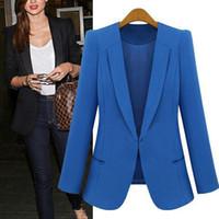 blazer für frauen farbe blau großhandel-Frauen Officewear Blazer Tops Jacken Frühling Sommer Elfenbein Blau Rot Farbe Mäntel Langarm mit Knopf V-Ausschnitt Slim Fit