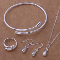 Wholesale Earings Bracelets - Hot Sale Water Drop Wedding Fashion 925 Silver Plated Jewelry Set Big Hand Chain Bracelet Necklace Ring Hook Oval Earings Eardrop