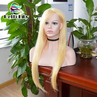Wholesale Blonde 28inch - 613 blonde full lace wigs 28inch straight glueless natural hairline Brazilian virgin human hair lace front wigs free shipping