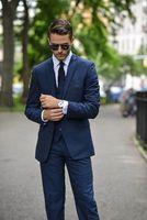 Wholesale Cool Groom Vests - 3 Pieces New Design Cool Dark Blue Groom Tuxedos Groomsmen Suits Wedding Best Man Suits (Jacket+Pants+Vest)