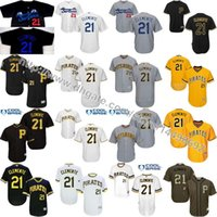 Wholesale Pittsburgh Pirates Authentic Jersey - S-5XL Men's Santurce Crabbers Puerto Rico 21 Roberto Clemente Jerseys Pittsburgh Pirates Custom Clemente Throwback Authentic Black Jersey