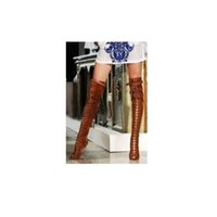 Wholesale Thin Metal Heel Sandals - European Style Brown Suede Leather Over The Knee Lace Up Peep Toe Boots Buckle Strap Metal Thin High Heel Long Sandal Boots