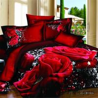 Wholesale Wedding Bedding Coverlet Set - 1PCS 3d bedding set bed set sexy rose flower bedding home cotton duvet cover flat sheet bedspread coverlet comforter sets 4 pcs