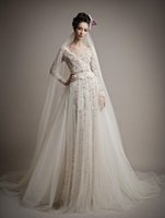 Wholesale Two Slit Long Dresses - 2017 Free shipping French Lace Long Sleeve Wedding Dress Detachable Train V Neckline Wedding Dresses Two Pieces bridal Gowns