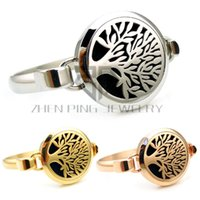 Wholesale Rose Diffuser Oil - Round SIlver , Gold and Rose Gold Tree of Life (30mm) Bangle Aromatherapy   Essential Oils Diffuser Locket Bracelet