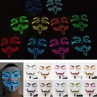 Wholesale V Shaped Led Light Bar - V Shape Party Cosplay Masks Led Light Vendetta Guy Volto Fancy Adult Masquerade Bar Stage Mask Halloween Easter Costume Accessory HH7-111