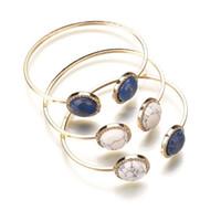 brazaletes de oro blanco para las mujeres al por mayor-3 estilos de oro redondo de mármol de imitación piedra brazalete brazalete blanco azul pulseras geométricas brazaletes accesorios de las mujeres