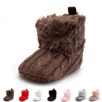 Wholesale Baby Crochet Boots White - 2017 Winter Warm First Walkers Baby Ankle Snow Boots Infant Crochet Knit Fleece kids Shoes For Boys Girls