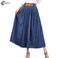 Wholesale Long Cowboy Denim Skirts - TNLNZHYN Women clothing cowboy Half body skirt 2017 summer club new fashion big size sexy long female denim skirt TT507
