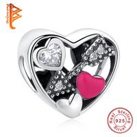 silber pfeil armband großhandel-BELAWANG 100% 925 Sterling Silber Herzform Charm Beads Amors Pfeile Perlen mit CZ Fit Pandora Bettelarmband für Frauen Schmuck