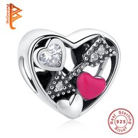 Wholesale Heart Shaped Bracelets For Women - BELAWANG 100% 925 Sterling Silver Heart Shape Charm Beads Cupid's Arrows Beads with CZ Fit Pandora Charm Bracelet Making for Women Jewelry