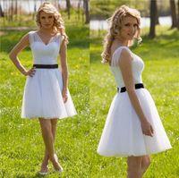 Wholesale Elegant Wedding Dresses Sashes - 2017 Elegant A-Line V neck Backless Short Wedding Dresses With Sash Waist Drapped Country Bridal Gown