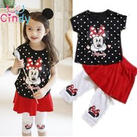 Wholesale T Shirt Culottes - Wholesale- 2016 New Girls Clothing Set Minnie dot Cartoon short t-shirt + culottes 2pcs set pants children's clothing kids free shipping
