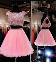 Wholesale Sexy Low Back Rhinestone Dress - Pink Two Piece Mini Short Homecoming Dresses Cap Sleeves Low Back Rhinestones Graduation Dress Knee Length Short Prom Gowns For Sweet 16