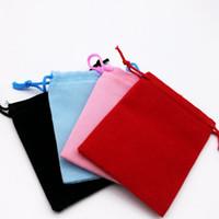 ingrosso borse nozze drawstring nere-Sacchetto del sacchetto del cordone del velluto di 100pcs 5x7cm / sacchetto dei monili Natale / sacchetti del regalo di cerimonia nuziale Colore rosso blu dentellare nero 4 all'ingrosso di colore