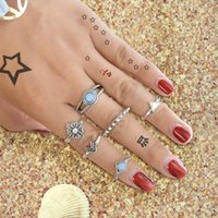 6 pcs / set Antique Silver Color Triangle Arrow Square Knuckle Ring Set Boho Chic Blue Beads Finger Rings Acessórios