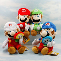Wholesale flower marie - New 1 PCS Super Mario Mushroom Ice Flower Louis LUIGI Marie Plush Doll Kids Toys Blue Red White Green Approx 17cm 7""