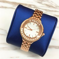 Wholesale Dresses Elegant Diamonds - Luxury Women watches Popular Top Brand Lady Wristwatch Stainless steel Rolling Diamonds Quartz Rose Crystal Hot sale Dress watch Elegant