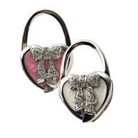Wholesale Heart Shaped Handbag Hanger - White and pink Heart Shaped bow Rhinestones Decor Handbag Foldable Hook Hanger Holder