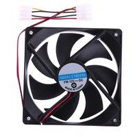 ventilador de refrigeração de 12v cpu venda por atacado-Atacado-2Pcs 120mm 120x25mm 4Pin DC 12V Brushless Ventilador de Refrigeração para PC Desktop PC CPU Irradiando
