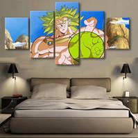 ingrosso dipinti astratti acqua-Decor Art 5 Pannelli Dragon Ball Sun-goku Senza cornice Pittura di arte della parete su tela