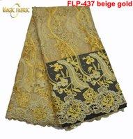 en moda elbiseler toptan satış-Boncuk ile en popüler Afrika net dantel kumaş, moda elbise için yüksek kaliteli Fransız dantel! FLP-437
