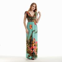 artı bohem giyim toptan satış-2017 Bayan Yaz Zarif Vintage Boho Plaj Giyim Bayanlar Bohemian Baskı Maxi Uzun Elbise Artı Boyutu 5XL 6XL Vestidos