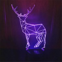 LED Cute Animal Deer Toy 3D Visual LED Night Light Acrylique 7 Gradient couleur USB Desk Lamp Children Holiday Gift -248