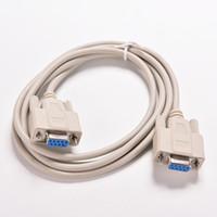 rs232 pc al por mayor-Al por mayor-1PC 5ft F / F Serial RS232 null cable módem hembra a mujer DB9 FTA conexión cruzada 9 pines COM convertidor de cable de datos de PC accesorio