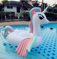 Wholesale Inflatable Ride Animals - Giant Inflatable Pool Toy Unicorn Floats Cartoon Animal Riding On Wings Toy Summer Outdoor Pool Party Lounge Tube Pool Toy KKA2219