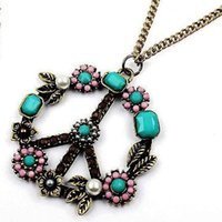 Wholesale Colorful Peace Signs - Wholesale-Free Shipping HOT!!! Fashion Necklace Peace Sign Pendants COLORFUL Quality peace pendent necklace