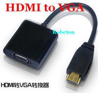 Wholesale Hdmi Cable For Ps2 - HDMI to VGA Cable Adapter Converter Male To Female With Built-in Chipset and up to 1080p for XBOX ONE 360 for Sony PS2