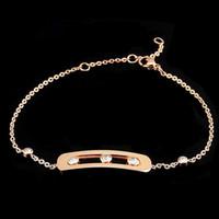 Wholesale Indian K - Titanium steel jewelry wholesale square on slide 3 diamond bracelet 18 k rose gold three couples drill sliding bracelet