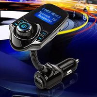 Wholesale Micro Sd Card 1g - Super Bluetooth Car Kit T10 Handsfree Set FM Transmitter MP3 Music Player 5V 2.1A USB Car charger Support Micro SD Card 1G-32G OM-K1