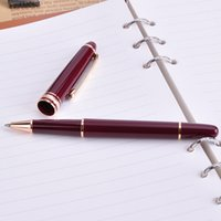Wholesale Best Ballpoint Pens For Writing - 1pc Luxury Wine Red Golden Clip Mb Roller Ball Pen Smooth Writing School Office Rollerballl Pen The Best Gift Pens for Women 163A
