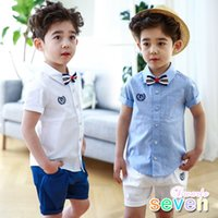 Wholesale Boys Tie Tee - Summer New Boys Outfits Sets Bow Tie Tops Tee Shirt And Cotton Shorts Pants 2pcs Set Children Clothing Casual Suits Boy Sets A7024