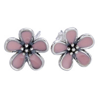 blossom earrings jewelry - Authentic Sterling Silver Earring Pink Enamel Cherry Blossom Stud Earrings For Women Compatible With Pandora Jewelry HK3D2