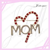 Wholesale Wholesale Mom Pin - 100PCS Lot 2017 China Wholesale Factory Direct Red Heart Love MOM Word Brooch Pin Mother's Day Gift