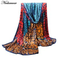 Wholesale Oversized Scarf Pattern - Wholesale-new fashion scarf Spring and Autumn silk feeling smooth scarf stone pattern print plus oversized scarves bohemia women hijab