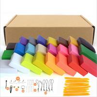 polymer-ton-modellierung werkzeuge großhandel-24 farben DIY Weiche Polymer Modelliermasse set mit werkzeugen luftgetrocknete gute paket FIMO Effekt Blöcke Spezielle Spielzeug Geschenk für Kinder