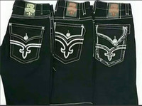 Wholesale Mens Short Jeans Trousers - New Hip Hop Fashion Mens Rock Revival Jeans shorts Classic Denim Pants Designer Casual Trousers Straight Jean Mens Robin Biker Jeans shorts
