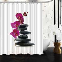 Wholesale Pvc Bathroom Curtain - Wholesale- Custom Zen stones and flower Waterproof Fabric Bathroom Shower Curtain big size 180x180cm 180x200cm High Quality F160401