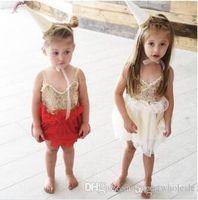 Wholesale Baby Girls Singlet Dress - Christmas Girls Lace tutu Dresses Baby Girl Princess Sequins Dress Kids Girl Singlet Party Dress 2017 Babies Summer clothes